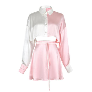 WARM AID Pink and White Silk Dress | MADA IN CHINA