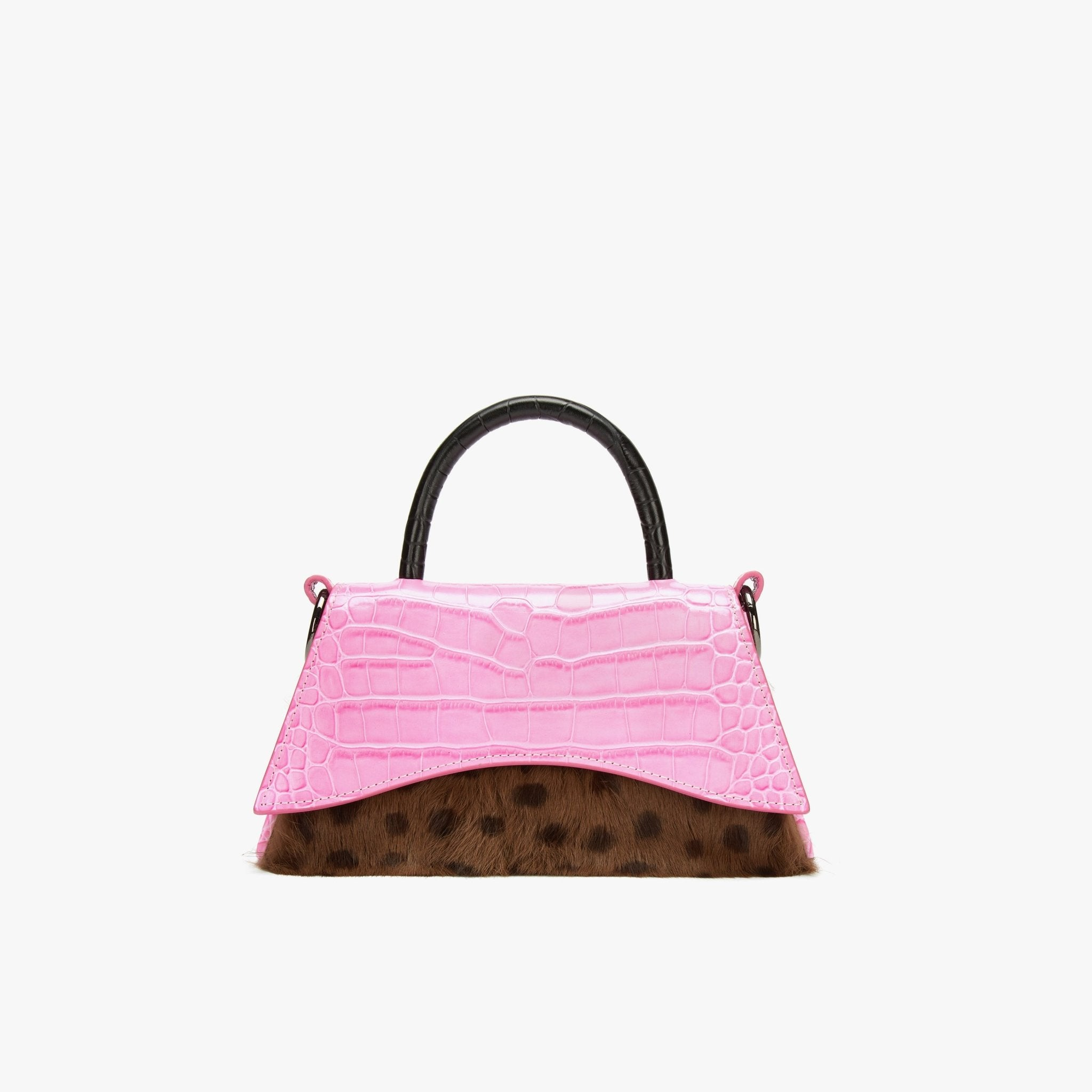 LOST IN ECHO Pink Barrett Panelled Fur Bag Small | MADA IN CHINA