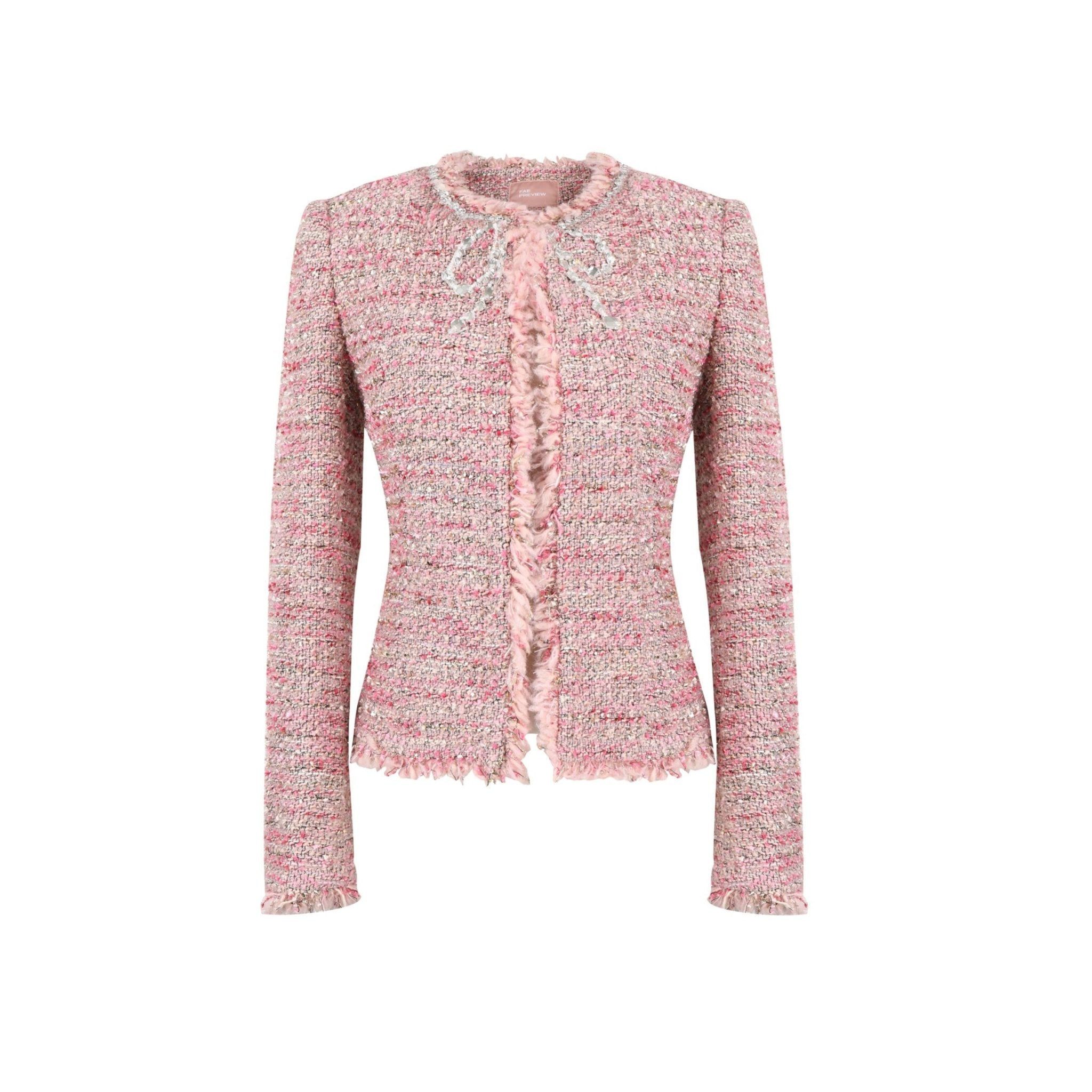 SASA MAX Pink Bowtie Tweed Jacket | MADA IN CHINA