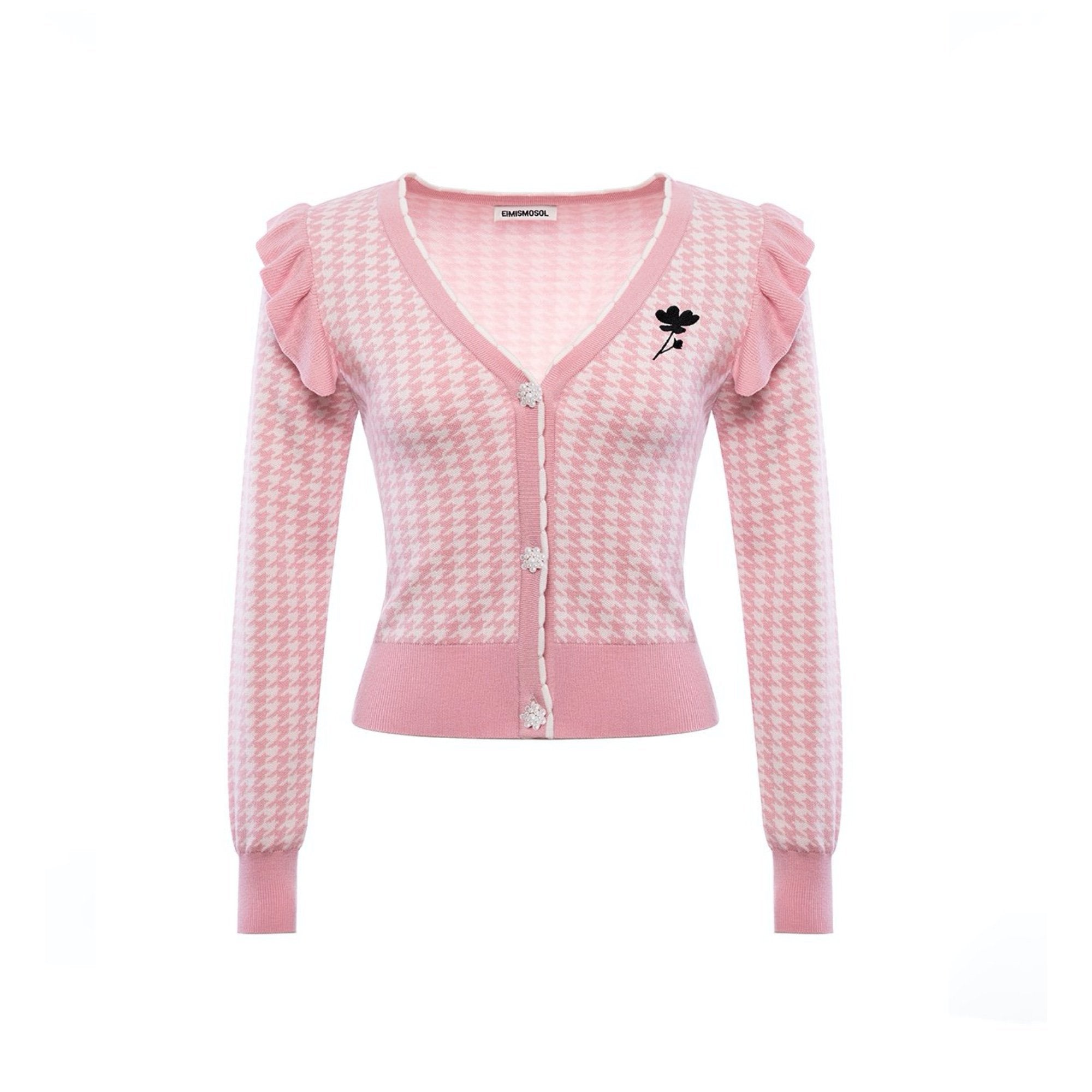 EIMISMOSOL Pink Houndstooth Cardigan | MADA IN CHINA