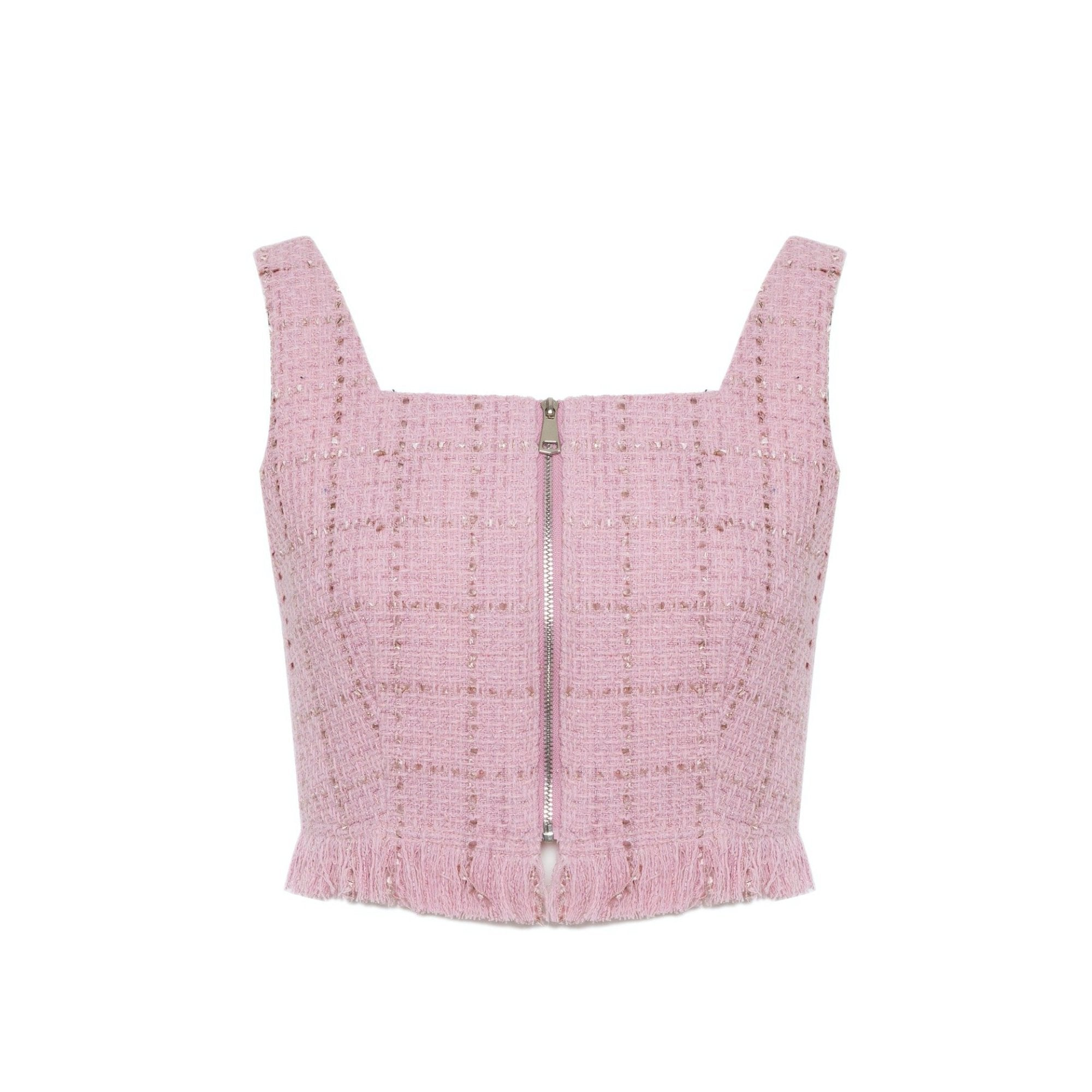 DIANA VEVINA Pink Knitted Zip Vest | MADA IN CHINA