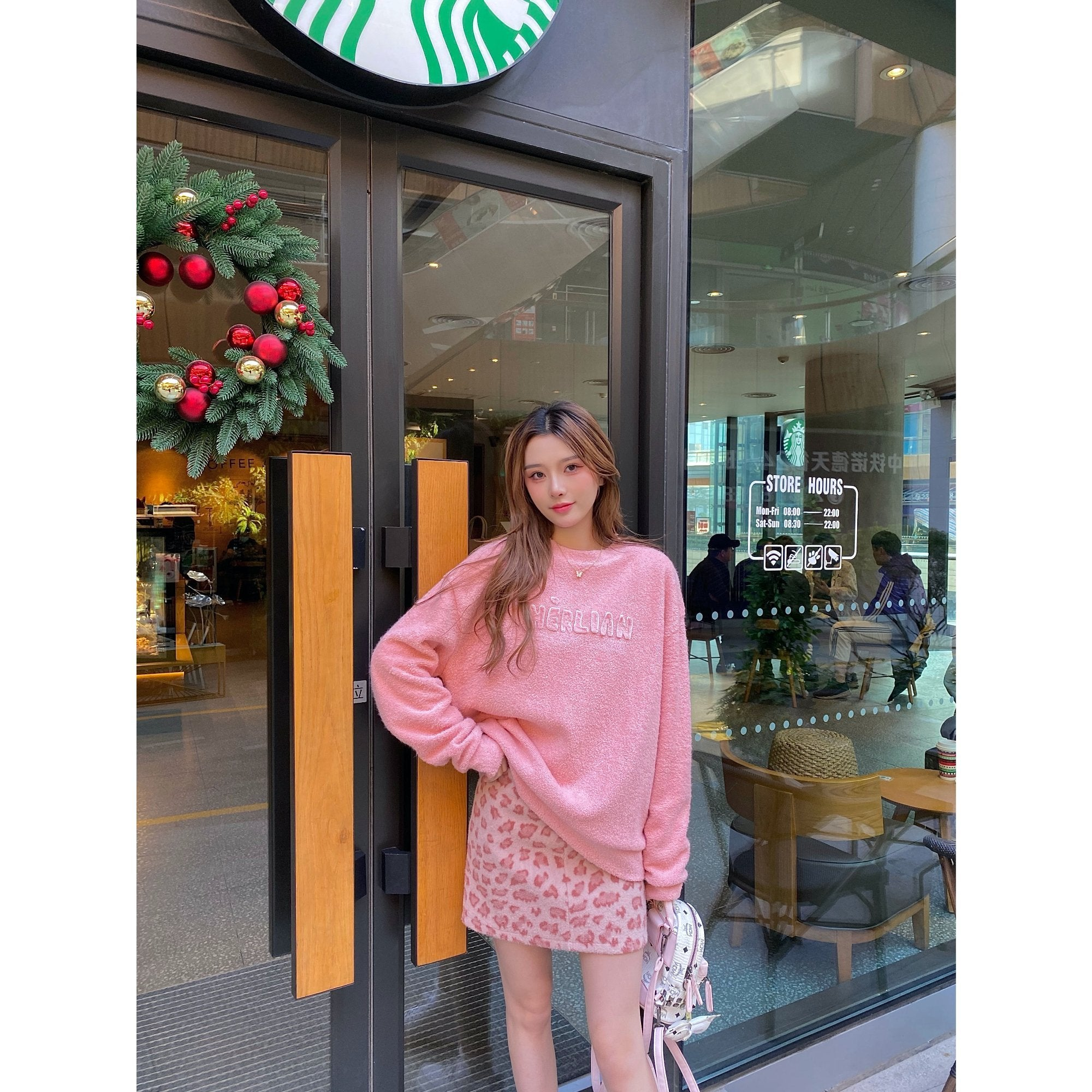 HERLIAN Pink Patched Logo Sweater | MADA IN CHINA