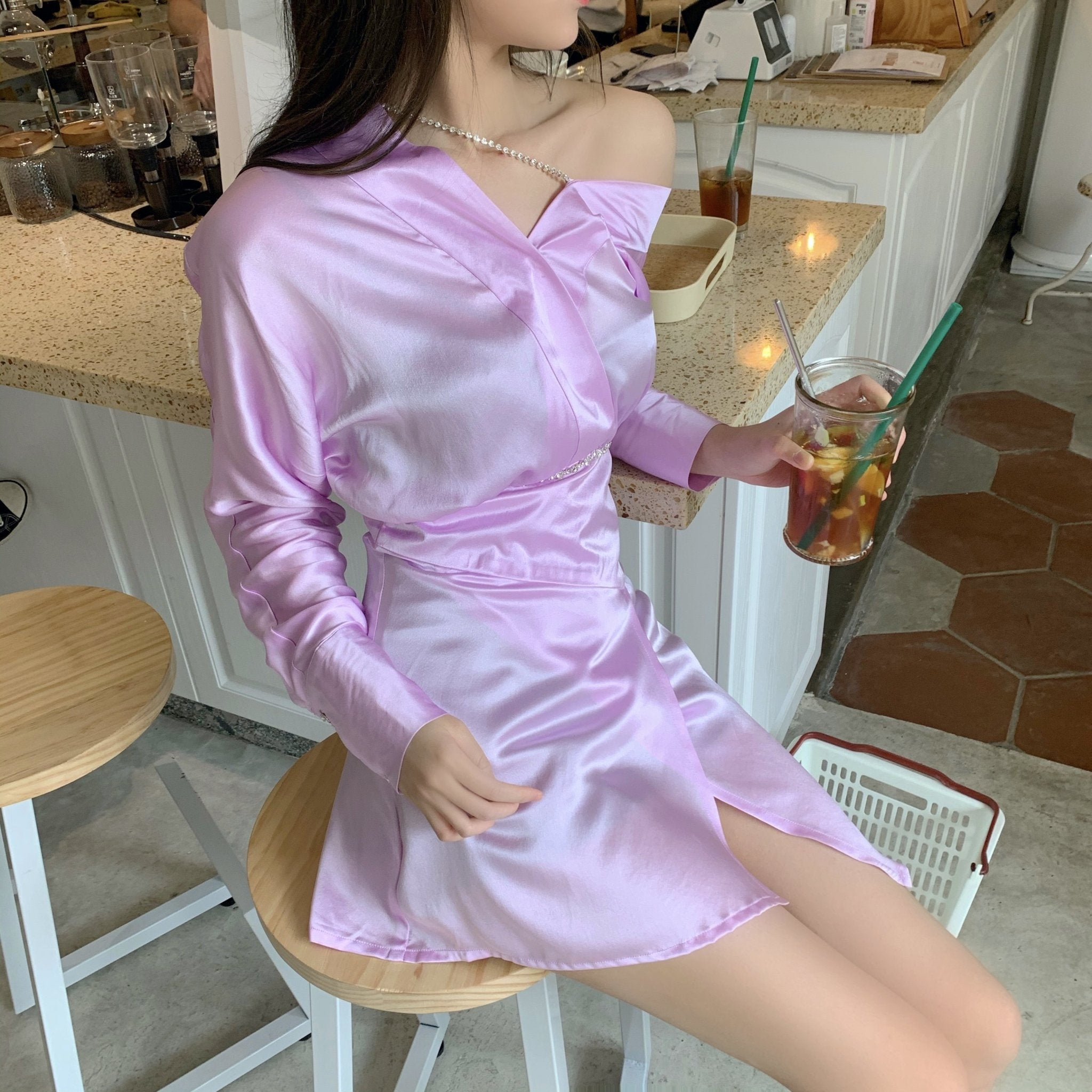 WARM AID Pink Silk Off Shoulder Dress | MADA IN CHINA