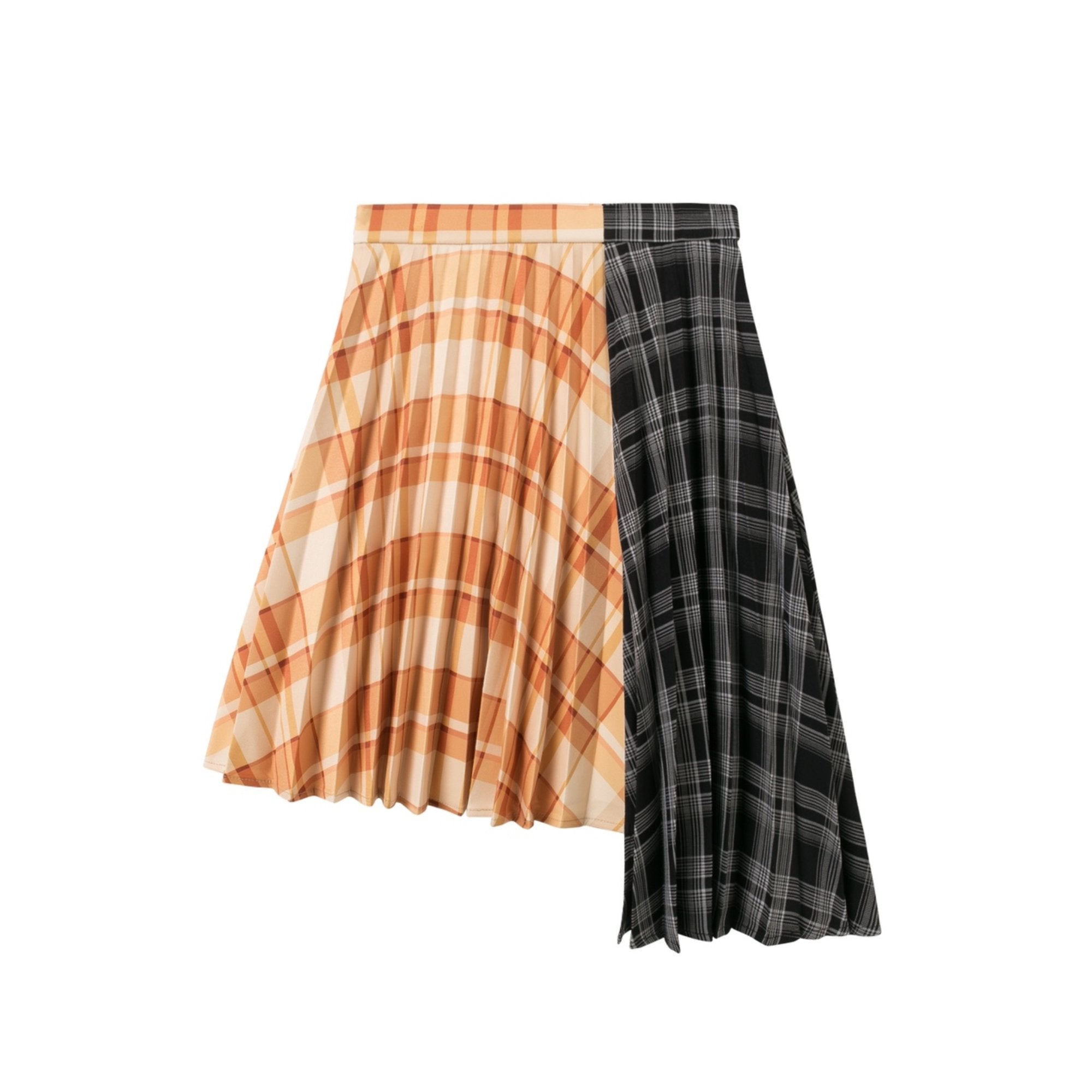 HERLIAN Plaid Panelled Pleated Skirt | MADA IN CHINA