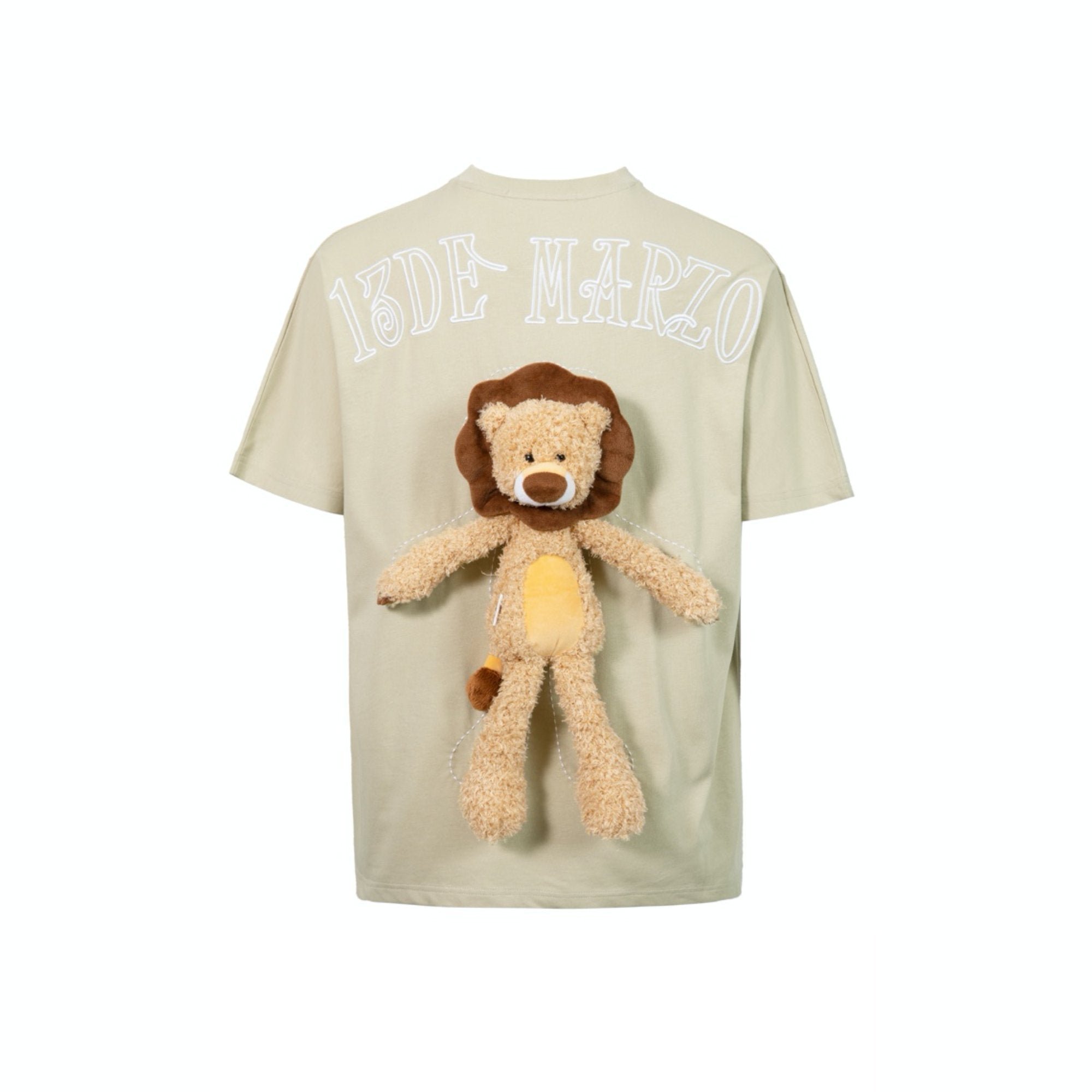 13 DE MARZO Plush Lion Toy T-Shirt Green Haze | MADA IN CHINA