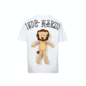 13 DE MARZO Plush Lion Toy T-Shirt White | MADA IN CHINA