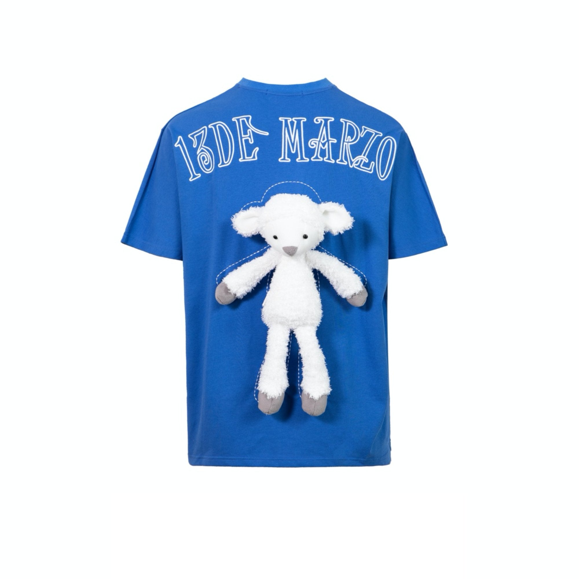 13 DE MARZO Plush Sheep Toy T-Shirt Blue | MADA IN CHINA