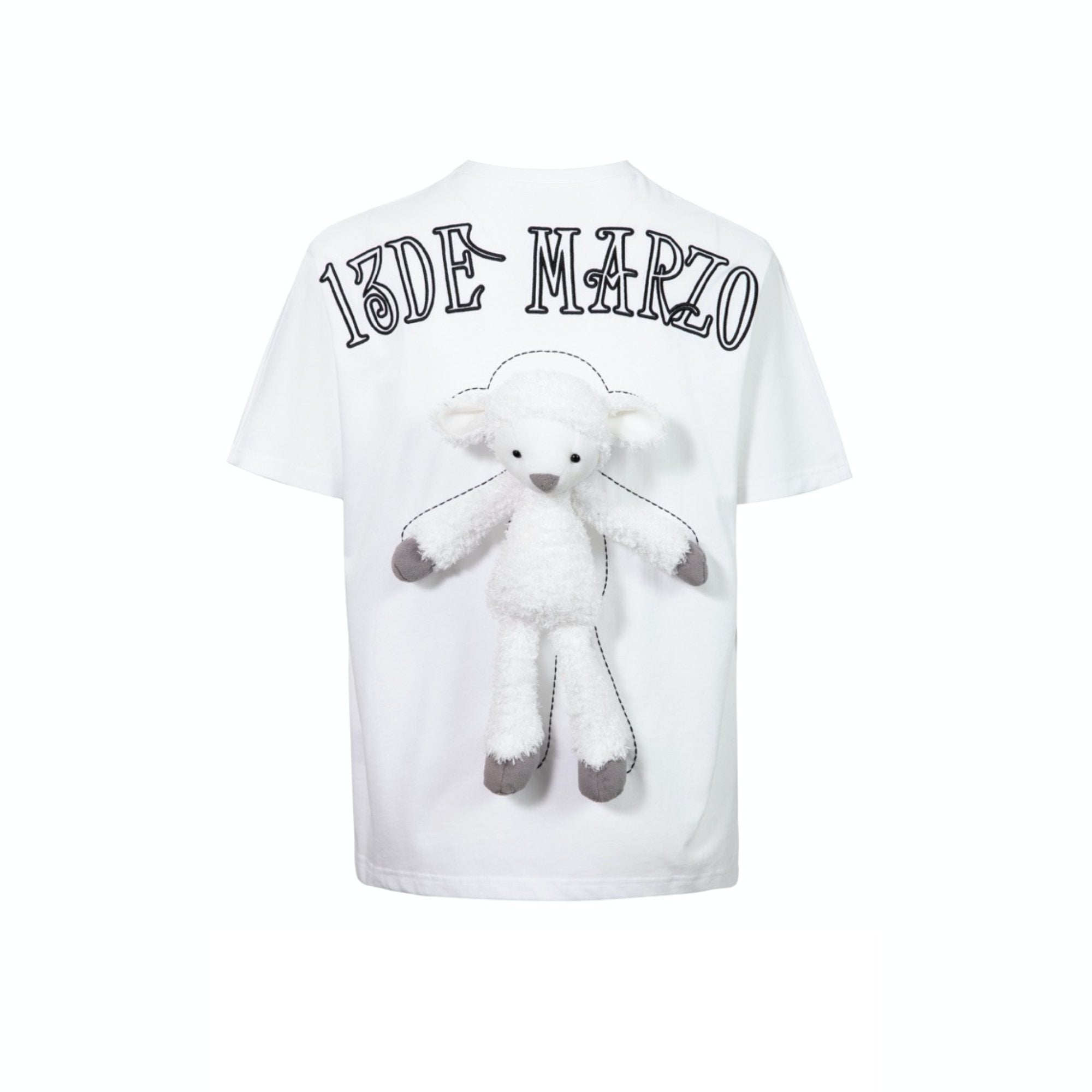 13 DE MARZO Plush Sheep Toy T-Shirt White | MADA IN CHINA