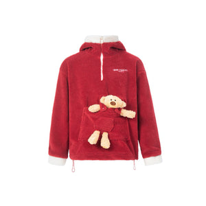 13 DE MARZO Pocket Teddy Bear New Year's Fleece Hoodie | MADA IN CHINA