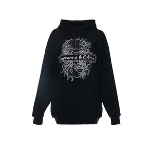 Laurence & Chico Portrait Embroidery Hoodie Black | MADA IN CHINA
