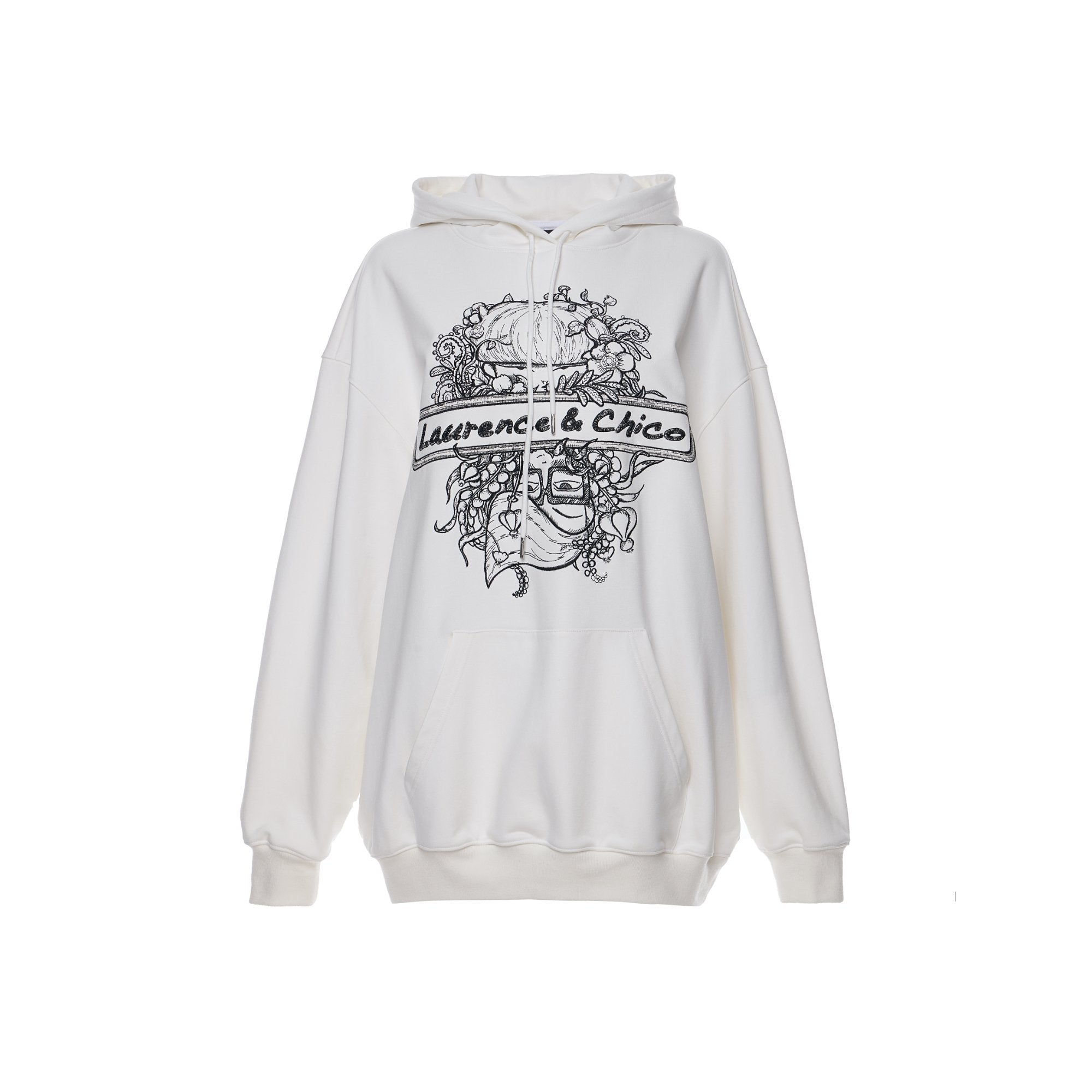 Laurence & Chico Portrait Embroidery Hoodie White | MADA IN CHINA