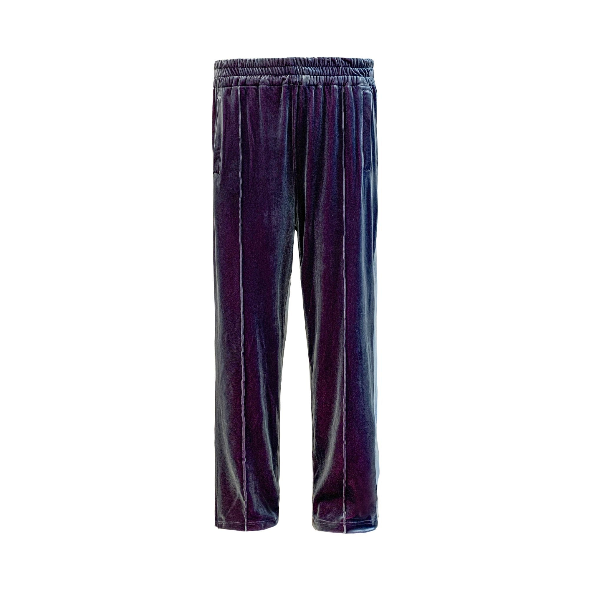 GALLIANO LANDOR Purple-Blue Velvet Pants | MADA IN CHINA