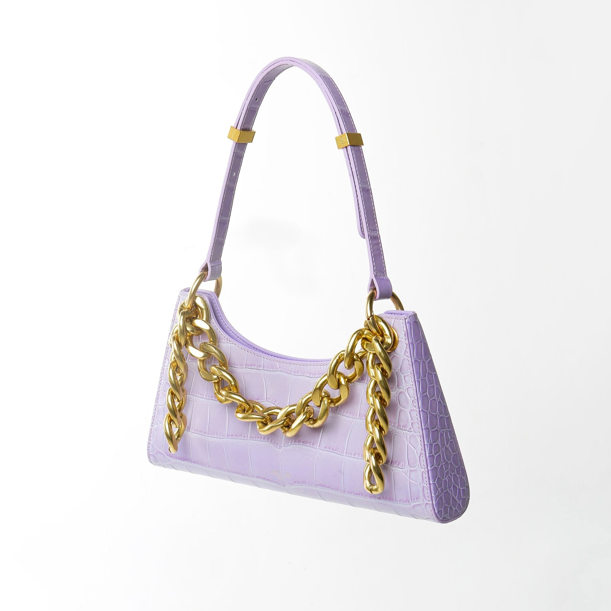 APEDE MOD Purple Croc Froggy Bag Golden Metal | MADA IN CHINA