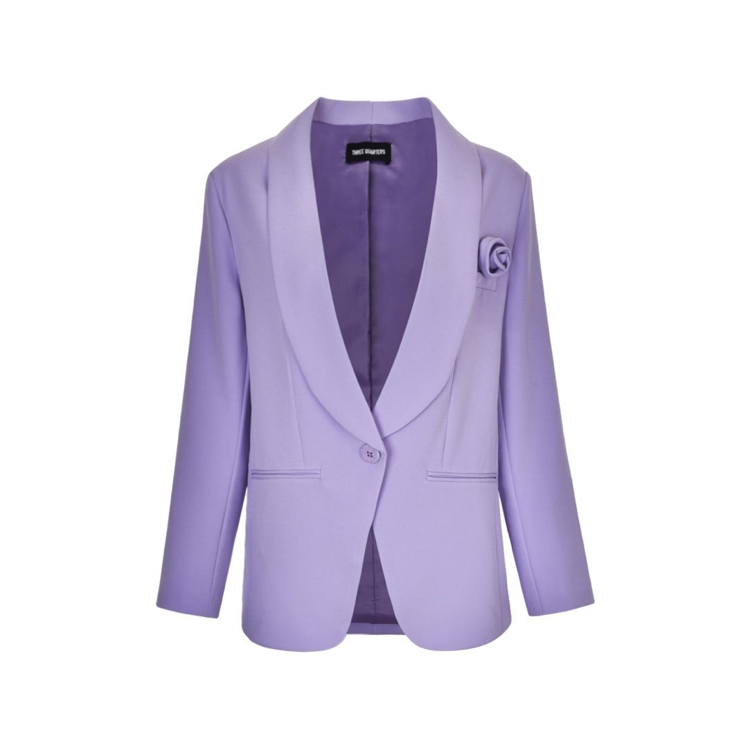THREE QUARTERS Purple Flower Blazer Jacket | MADA IN CHINA