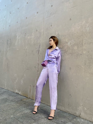 THREE QUARTERS \Purple Glitter Satin Pants | MADA IN CHINA