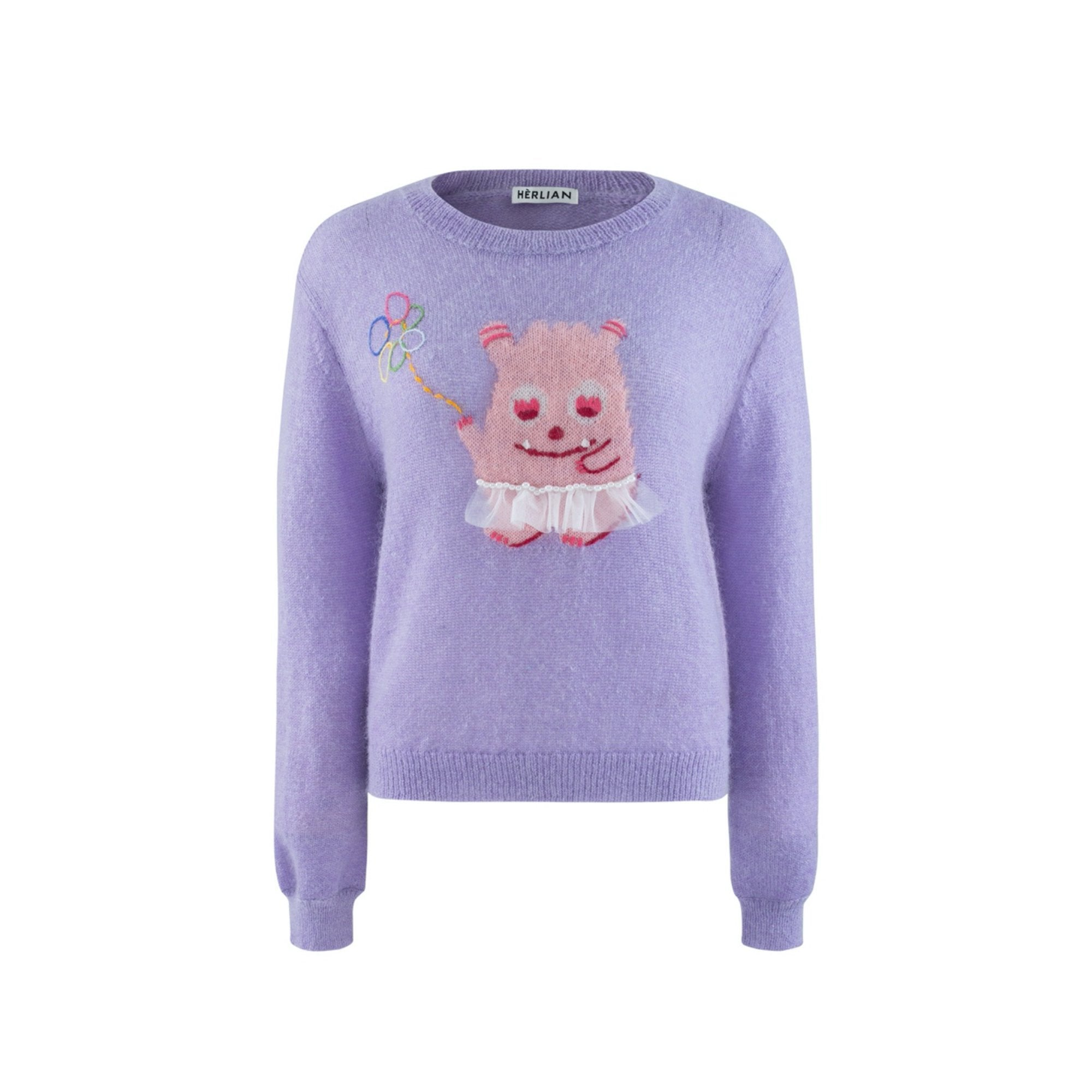 HERLIAN Purple Little Monster Sweatshirt | MADA IN CHINA