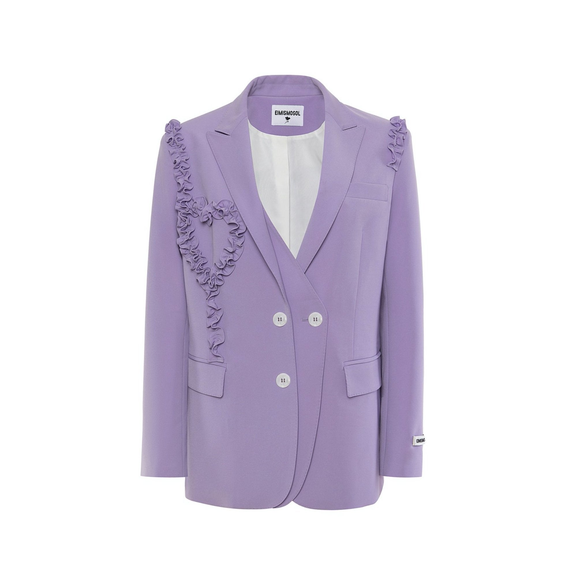 EIMISMOSOL Purple Ruffle Blazer Jacket | MADA IN CHINA