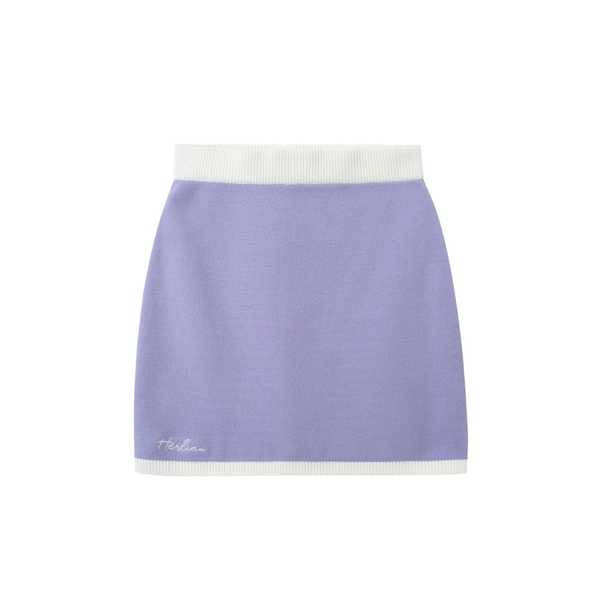 HERLIAN Purple Signature Logo Knitted Skirts | MADA IN CHINA