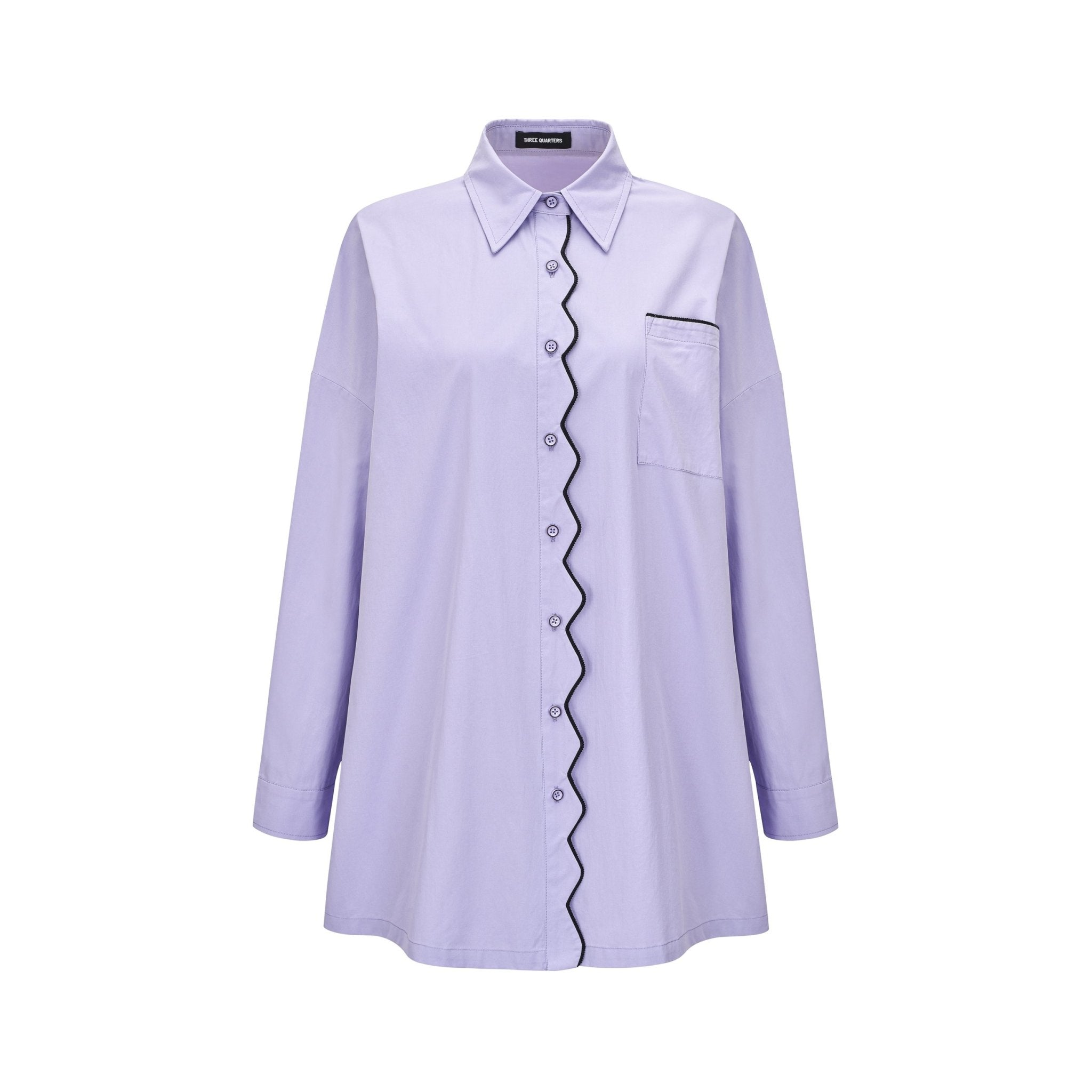 THREE QUARTERS Purple Wavy Slip-Beading Shirt | MADA IN CHINA