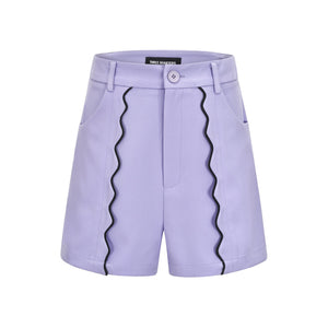 THREE QUARTERS Purple Wavy Slip-Beading Shorts | MADA IN CHINA