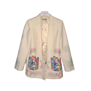 ANDREA MARTIN Puzzle Print Blazer Jacket | MADA IN CHINA