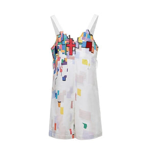 ANDREA MARTIN Puzzle Print Overall Short | MADA IN CHINA