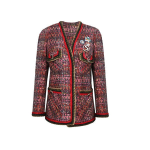 SASA MAX Red Brooch Tweed Jacket | MADA IN CHINA