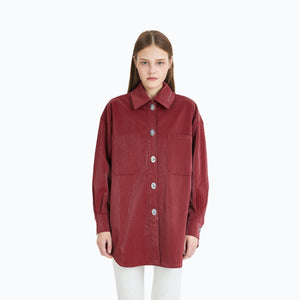 ANN ANDELMAN Red Leather Shirt | MADA IN CHINA