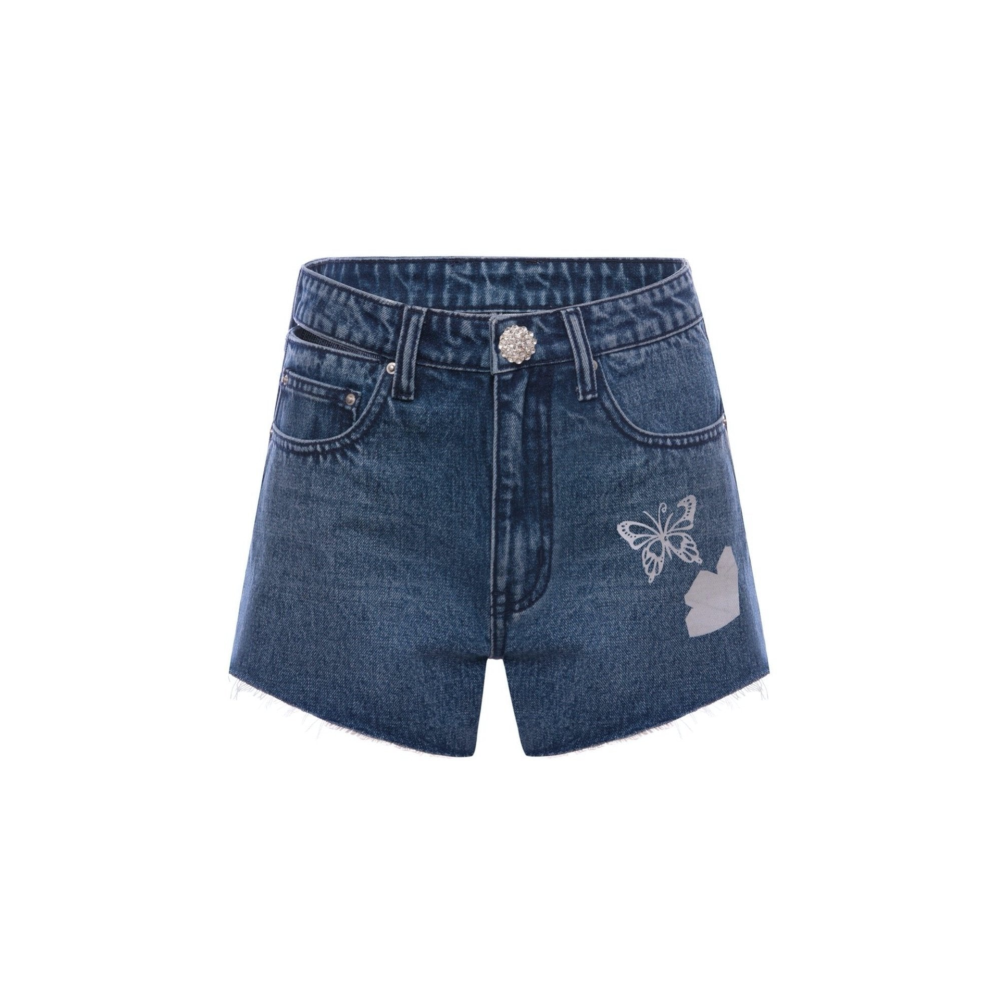 EIMISMOSOL Reflective Butterfly Denim Shorts | MADA IN CHINA