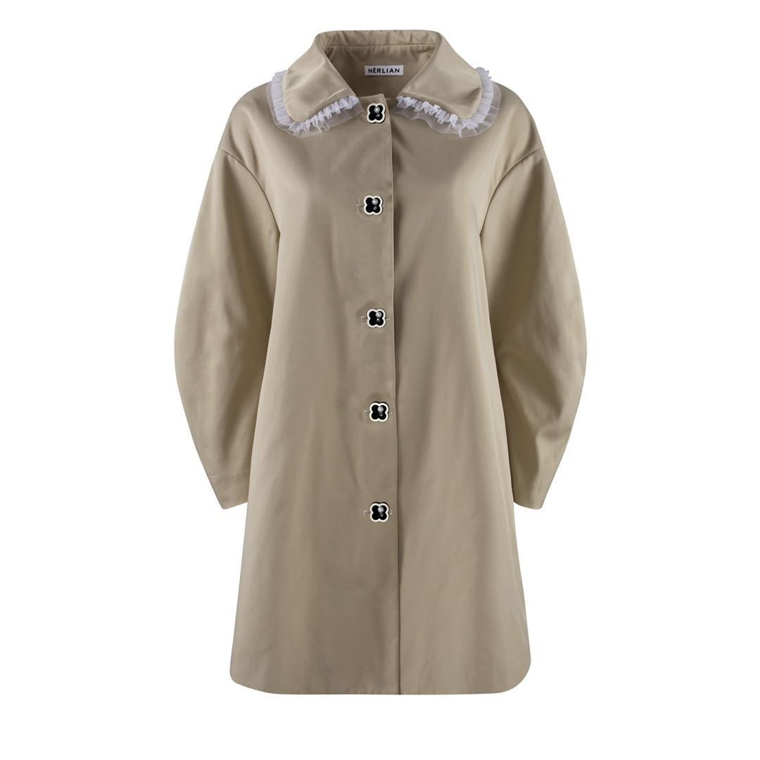 HERLIAN Ruffled Collar Trench Coat | MADA IN CHINA