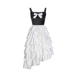 WARM AID Satin Bowknot Pleated Dress | MADA IN CHINA