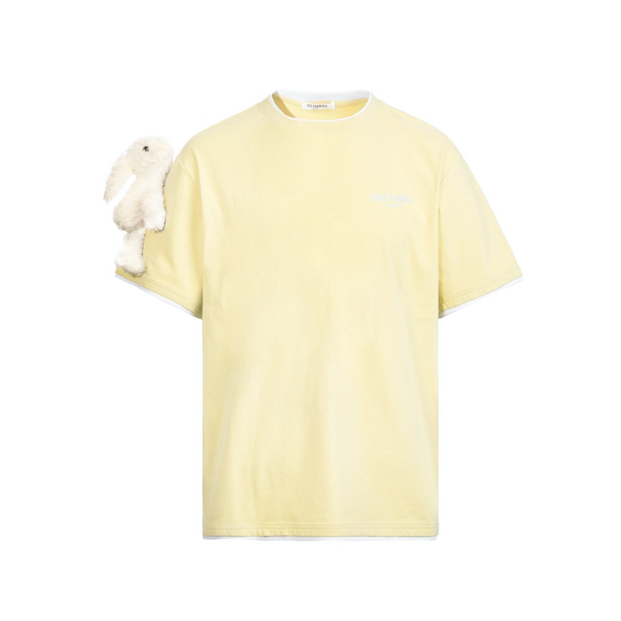 13 DE MARZO Short Sleeve Plush Rabbit Tee Tender Yellow | MADA IN CHINA