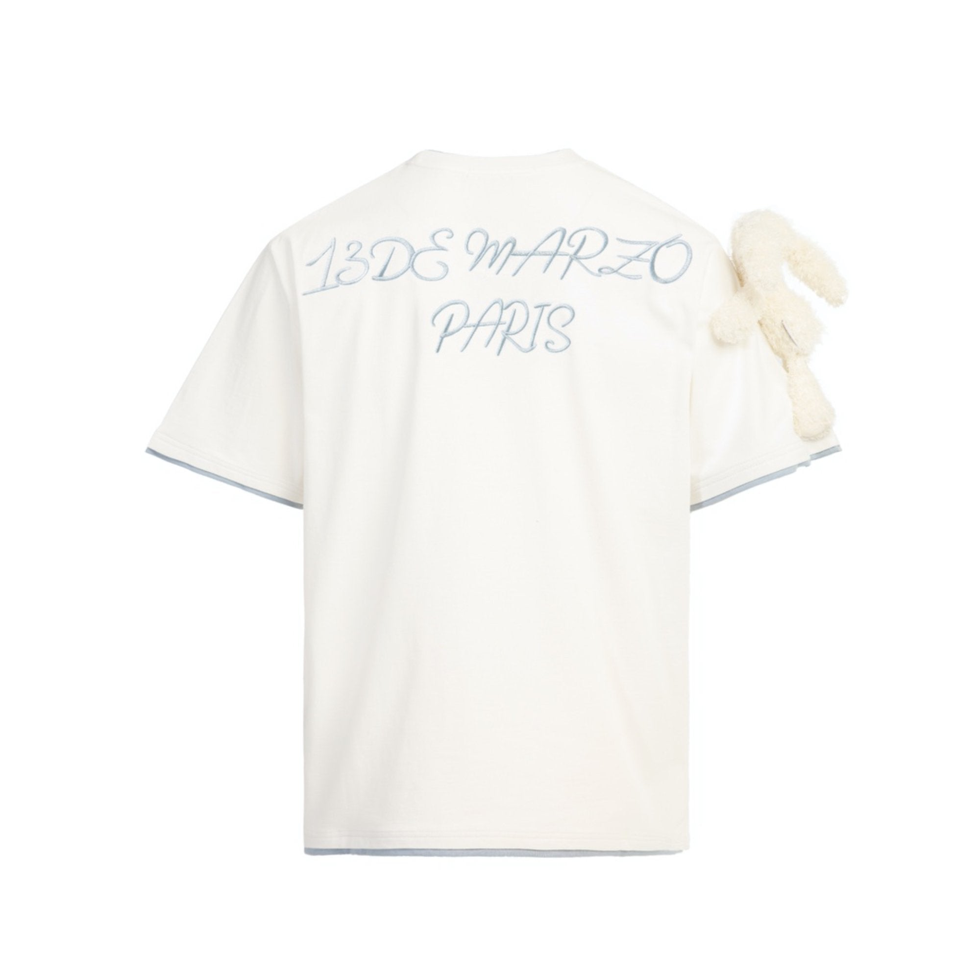 13 DE MARZO Short Sleeve Plush Rabbit Tee White | MADA IN CHINA