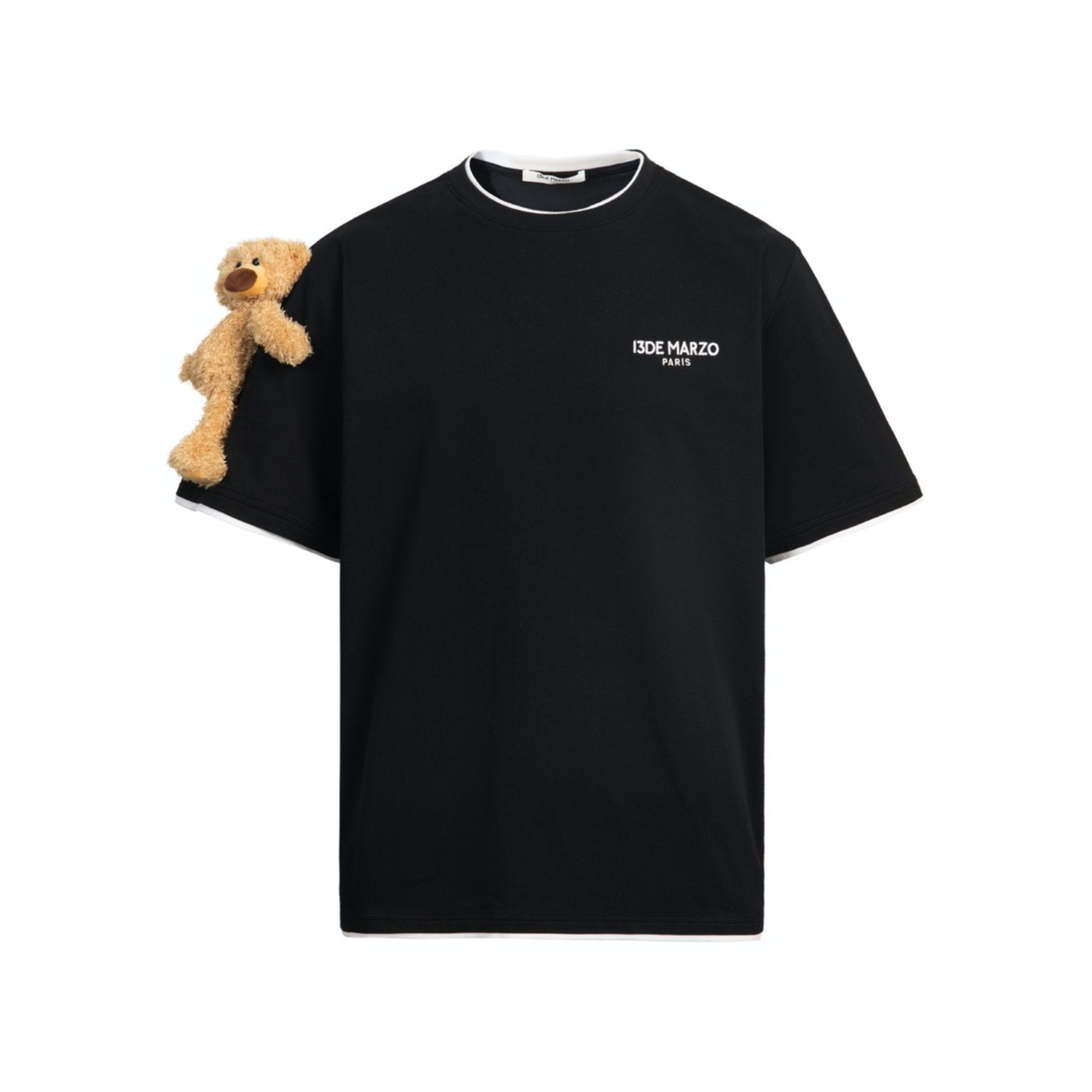 13 DE MARZO Short Sleeve Teddy Bear Tee Black | MADA IN CHINA