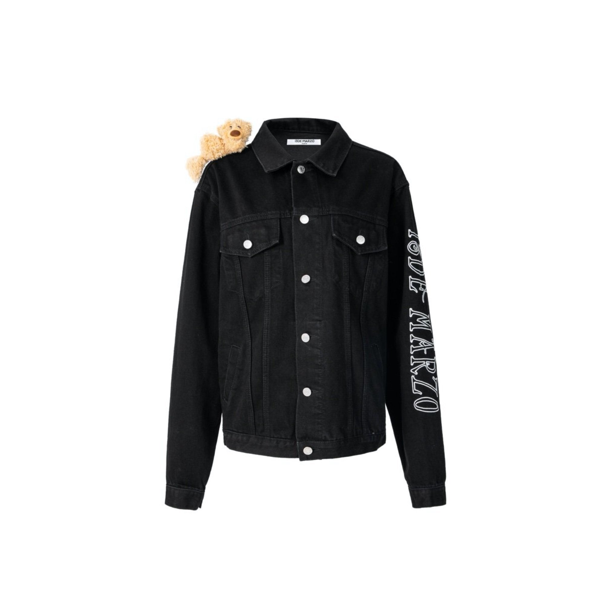13 DE MARZO Shoulder Teddy Bear Denim Jacket Black | MADA IN CHINA