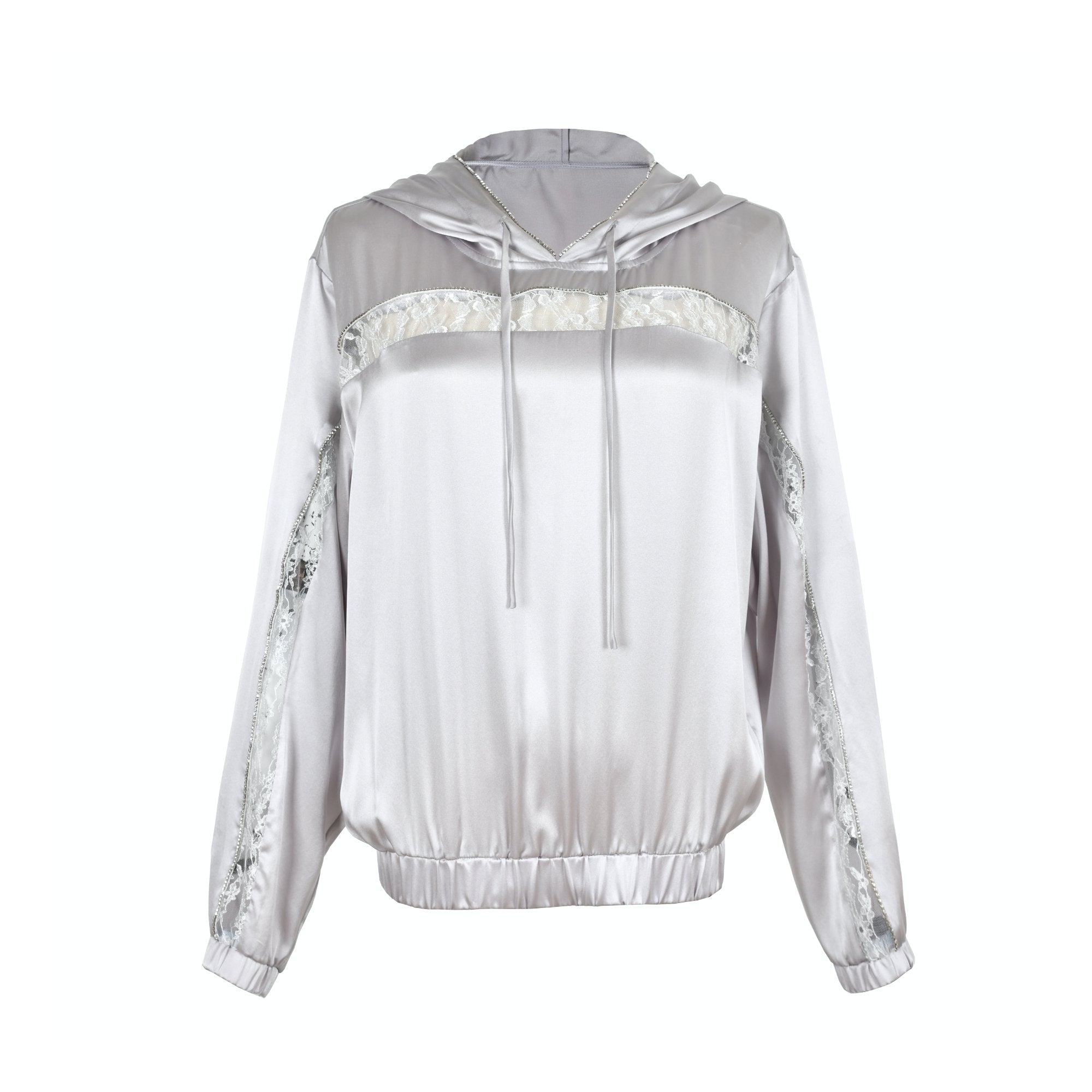 WARM AID Silver Grey Silk Hoodie | MADA IN CHINA