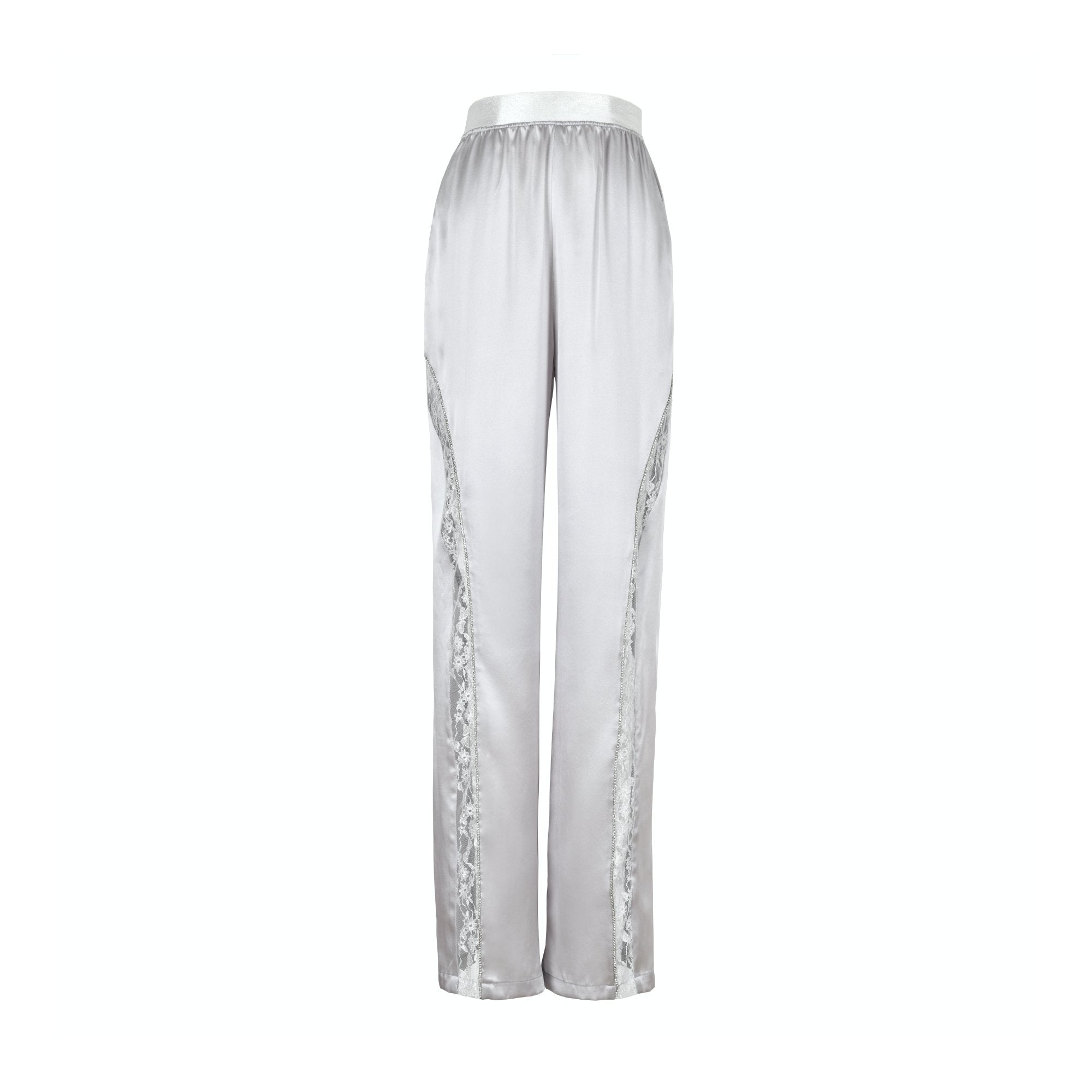 WARM AID Silver Grey Silk Lace Pants | MADA IN CHINA