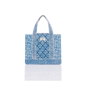 Laurence & Chico Small Washed Denim Tote Light Blue | MADA IN CHINA