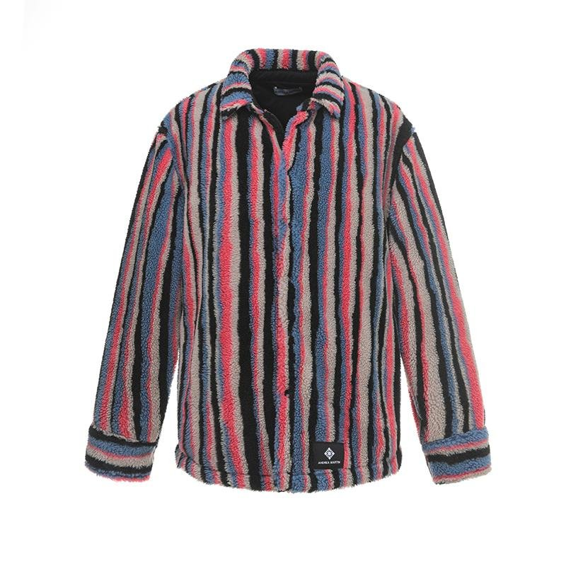ANDREA MARTIN Striped Faux Shearling Jacket | MADA IN CHINA