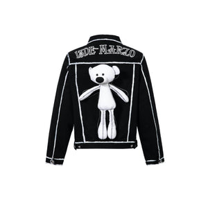 13 DE MARZO Teddy Bear 2D Hand-Draw Dein Jacket Black | MADA IN CHINA