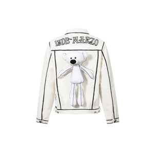 13 DE MARZO Teddy Bear 2D Hand-Draw Dein Jacket White | MADA IN CHINA