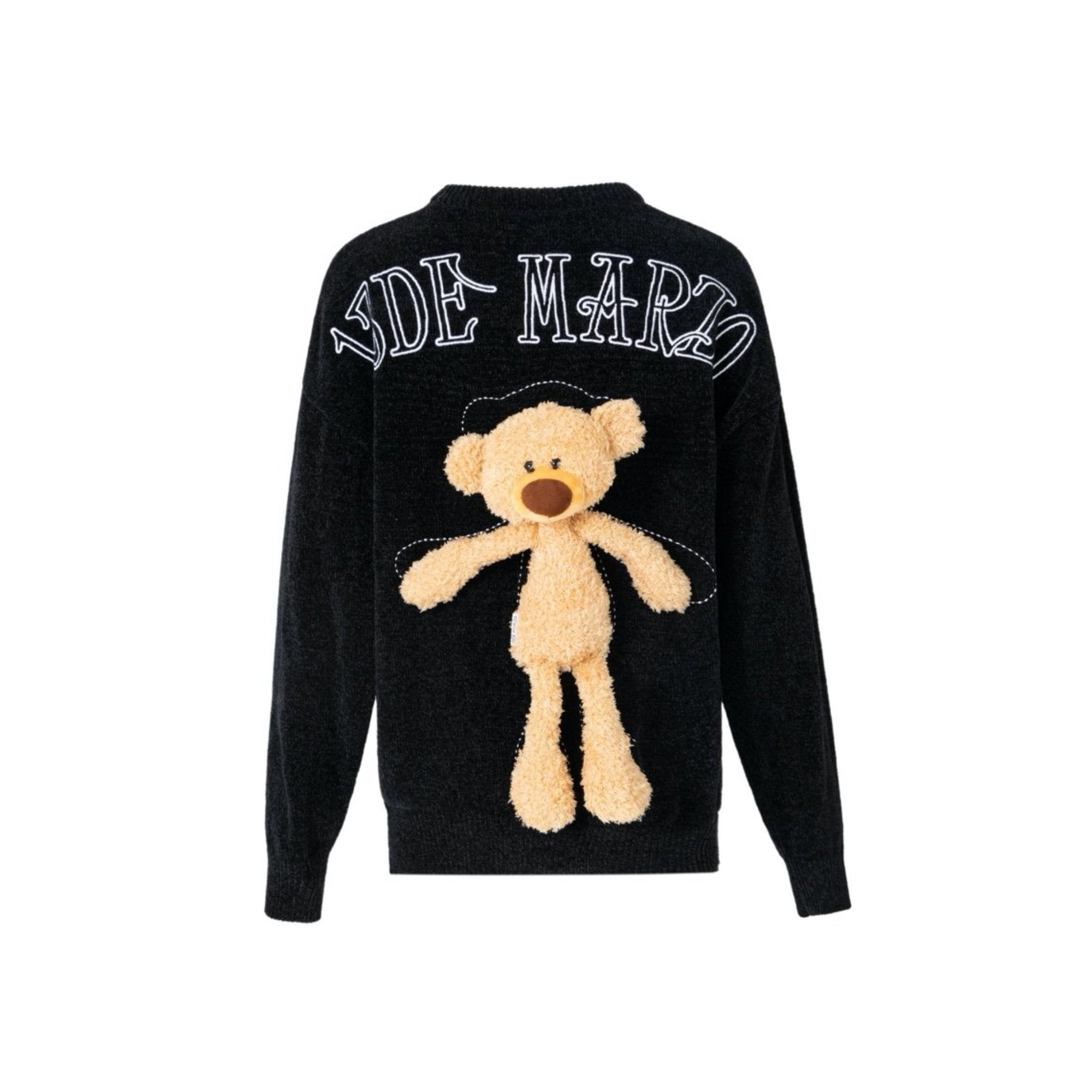 13 DE MARZO Teddy Bear Chenille Sweater Black | MADA IN CHINA