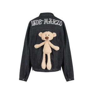 13 DE MARZO Teddy Bear Denim Jacket | MADA IN CHINA
