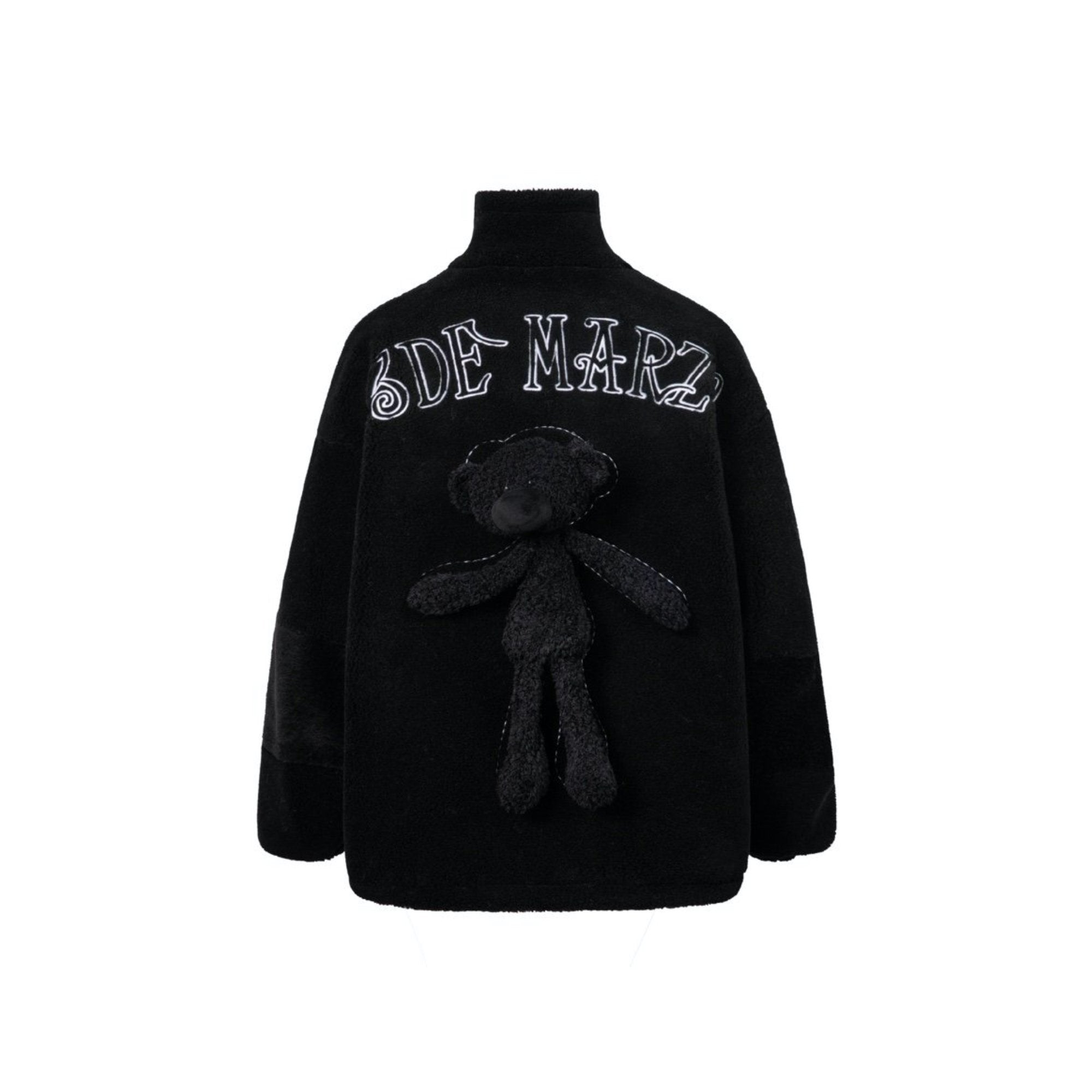 13 DE MARZO Teddy Bear Lamb Wool Coat Black | MADA IN CHINA