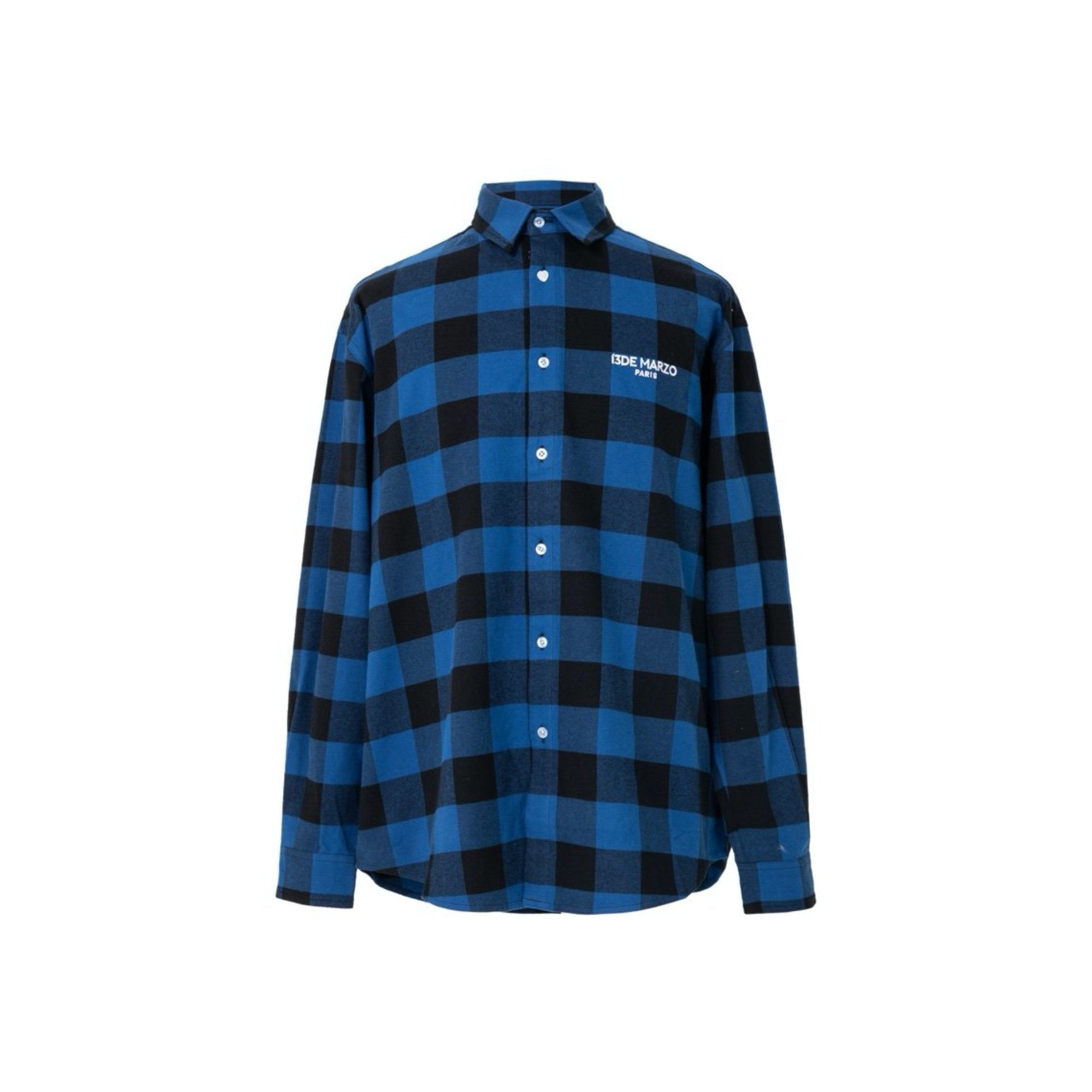 13 DE MARZO Teddy Bear Plaid Shirt Blue | MADA IN CHINA