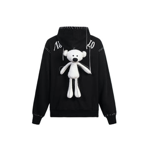 13 DE MARZO Teddy Bear Suture Hoodie Black | MADA IN CHINA