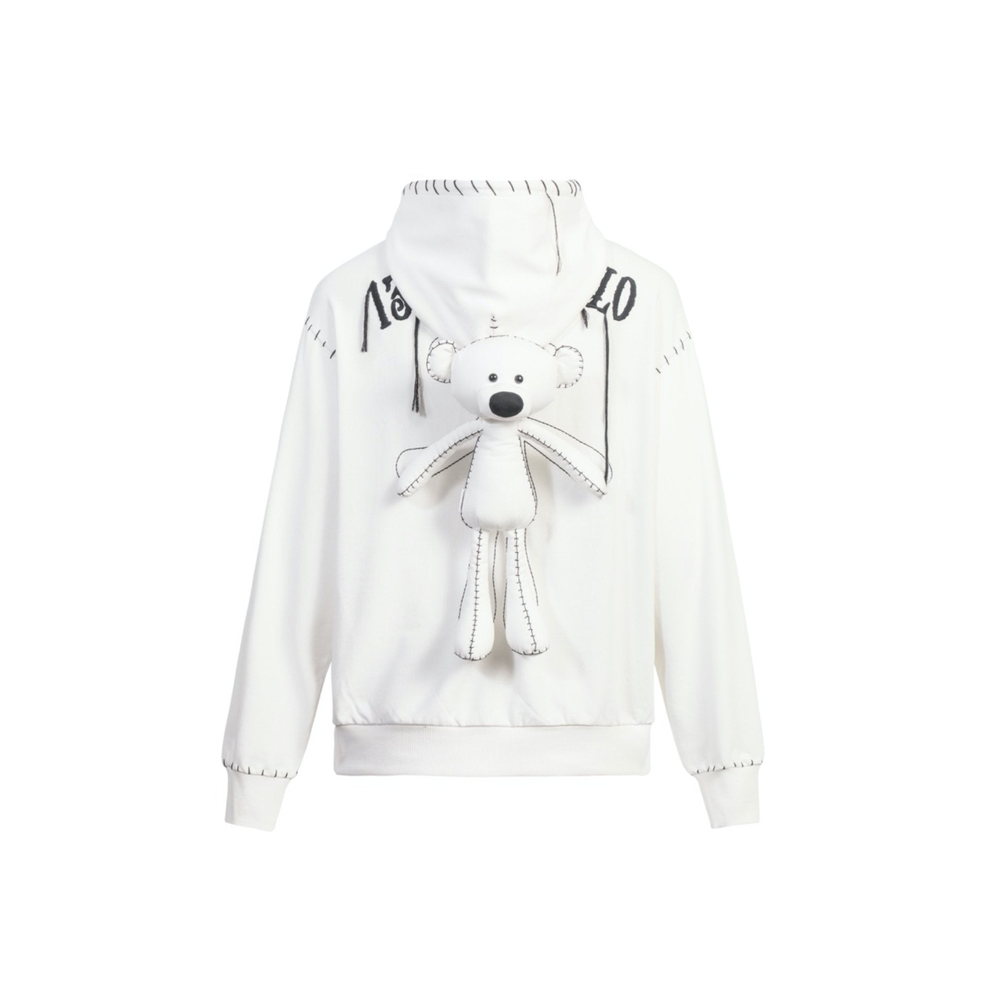 13 DE MARZO Teddy Bear Suture Hoodie White | MADA IN CHINA