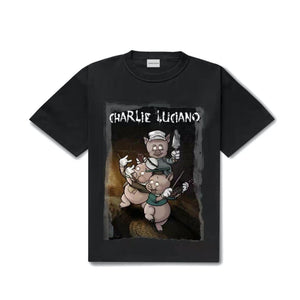 CHARLIE LUCIANO Three Little Pigs Print Tee Black | MADA IN CHINA