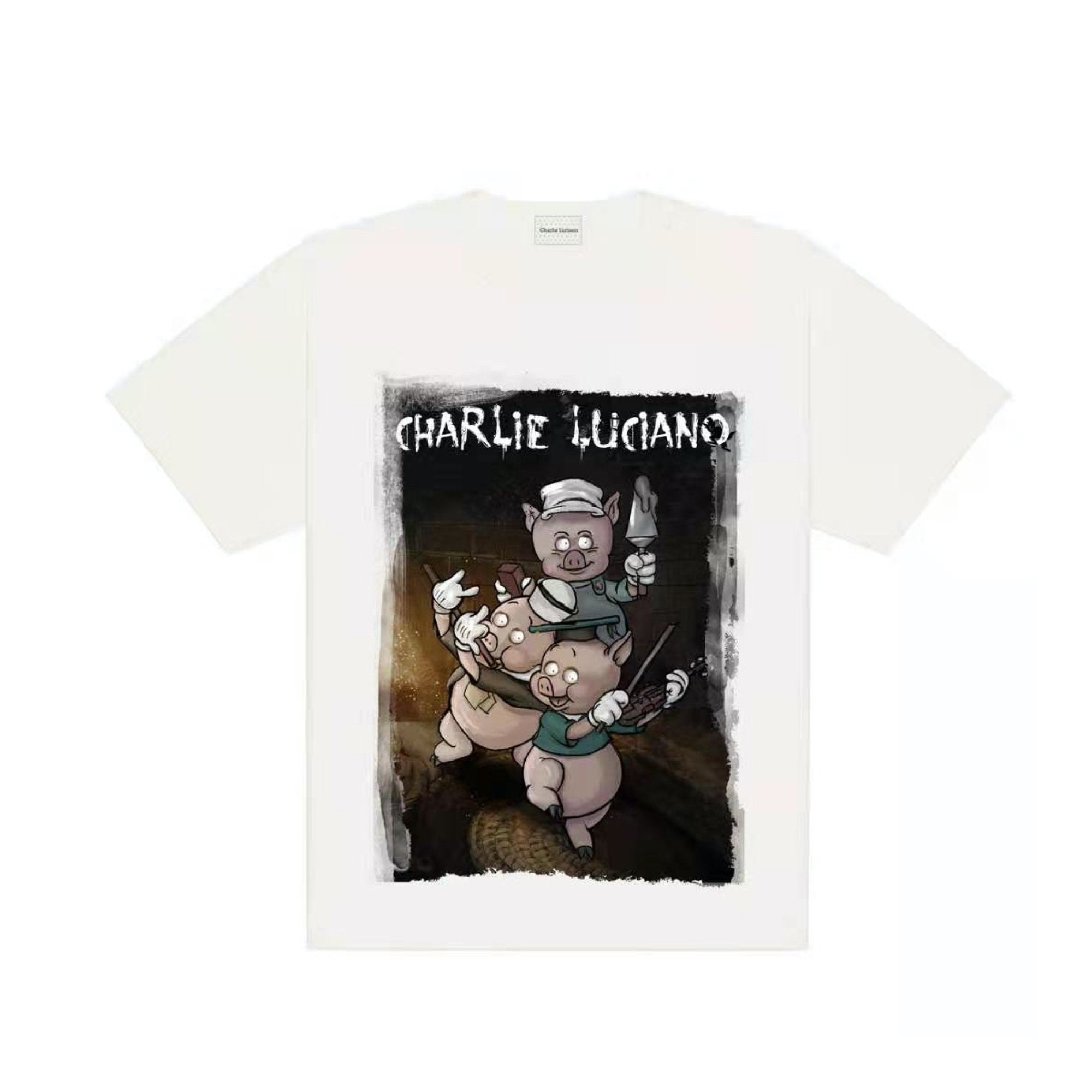 CHARLIE LUCIANO Three Little Pigs Print Tee White | MADA IN CHINA