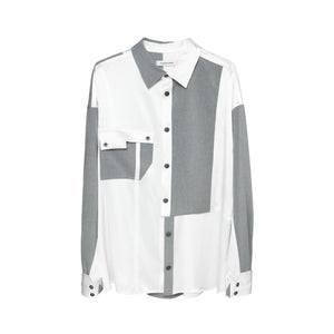 GALLIANO LANDOR TR Silk Staggered Patchwork Shirt | MADA IN CHINA